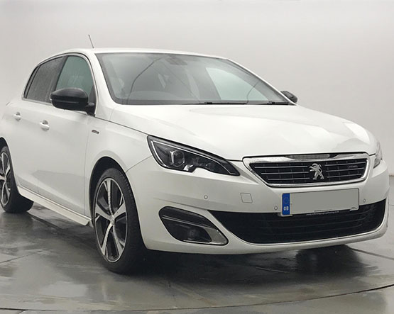 Front view image of a Peugeot 308.